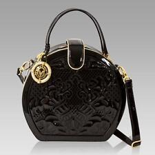 Valentino Orlandi Italian Designer Black Embroidered Leather Round Handbag