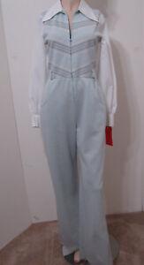 VIVENTE Vintage 70's Jumpsuit LS Wide Leg Blue Stripe White Blouse Pockets M