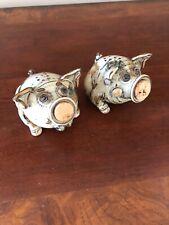 Salt & Pepper Handmade  Art Pottery Brown Drip Glaze Adorable