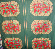 Christmas holiday placemats sewing panel dark green poinsettia lot of 6 material