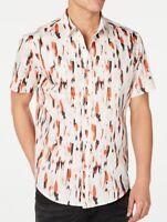 INC Mens Shirt Classic Orange Size 2XL Carson Printed Button Down $49 246