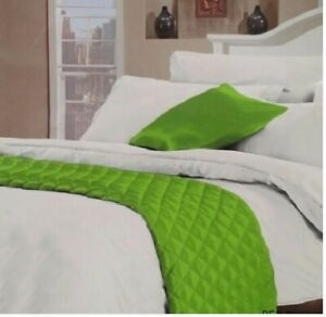 """1 x """"Satin"""" Bed/Spread/Runner- Quilted (55x220cm Aprox) For all Bed Sizes- Green"""