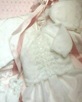 "BABY  GIRL CARDIGAN  BONNET &  MITTS  Knitting Pattern  DK  16 ""- 20 "" - 14B2"