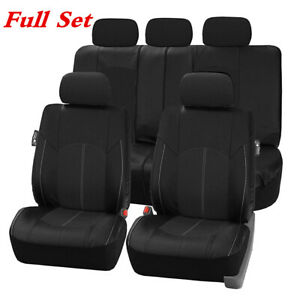 PU Leather Car Seat Covers Front Rear Bottom Bench Protector Full Set Black 9PCS