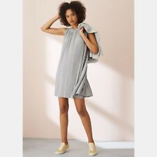 Lou & Grey Pleated Grey Oversize Swing Dress Polyester Blend Pockets M NWOT