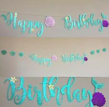 Happy Birthday Mermaid Bunting Banner Glitter Girl Birthday Party Decoration