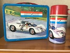 VINTAGE AUTO RACE LUNCHBOX AND THERMOS