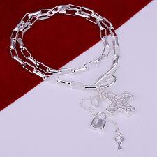 Wholesale 925Sterling Silver Cross Heart Key Lock Men Women Necklace NY023