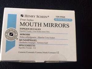 Dental Henry Schein  Mouth Mirror front surface Cone Socket #5  12/Box Miltex
