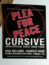 PLEA FOR PEACE CURSIVE MIKE PARK SAUL WILLIAMS D 4x5 MUSIC FLYER POSTER POSTCARD