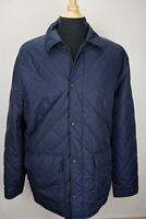 Polo Ralph Lauren Blue Quilted Car Coat Jacket Gray Wool Herringbone Lining L