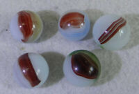 #11242m Vintage Group of 5 Akro Agate Oxblood Marbles .55 to .60  Inches