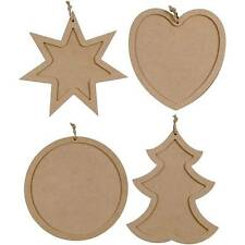 Christmas Photo Picture Frames Hanging MDF Wood Tree Star Heart Circle To Paint