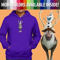 Disney Frozen 2 Olaf Snowman Sven Reindeer Pullover Sweatshirt Hoodie Sweater