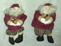 LOT OF 2 SANTA DECORATIVE DOLLS HOLDING TEDDY BEAR CHRISTMAS ornament decoration