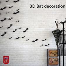 24Pcs Halloween Props 3D Bats Party Decoration Wall window Stickers Decal Black