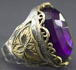 Sterling silver unisex ring handmade, amethyst stone, Byzantine Empire ring