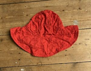 Baby Gap Girls Summer Hat 0-6 Months Brocade Anglaise Coral Red