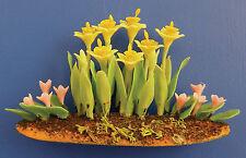 Narzissen Beet Garten Daffodil Garden Plants Puppenstube Dollhouse 1:12 Art D912