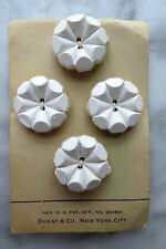 """VINTAGE BUTTONS ON CARD 4 FASHION FLORAL MOD WHITE ROUND 7/8"""" SIZE by DUKAY"""