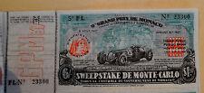 Vintage 9th Grand Prix De Monaco Sweepstake De Monte-Carlo Draw Ticket Unused