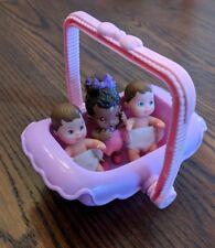 1990 Mattel Happy Family 3 BABIES Lot Bassinet Barbie Baby Doll KRISSY