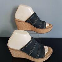 Clarks Artisan Black Nubuck Suede Cork Wedge Shoe UK 4.5 US 7 EU 37 Free Post