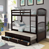 Twin Bunk Bed w/ Ladder Safety Rail Trundle Bed w/ Drawer for Kids Teens Bedroom