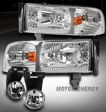 94-01 DODGE RAM TRUCK CHROME CRYSTAL HEAD LIGHT W/BUMPER FOG LAMP 1500 2500 3500