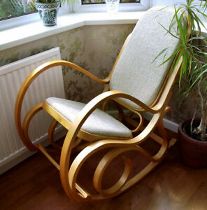 NEW BENTWOOD THONET ROCKING CHAIR PADDED SEAT BIRCH LIVING BED ROOM CONSERVATORY