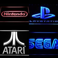 SEGA, NINTENDO, ATARI, Playstation ARCADE LED NEON LIGHT SIGNS ManCave Game Room
