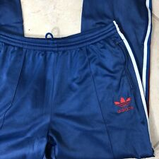 Adidas Sz XL Track Pants Zip Ankle Stripe Logo Blue Workout Training Warm Up