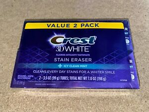 Crest 3D White Whitening Toothpaste Icy Clean Mint 3.5 oz 2 Pack USA RARE