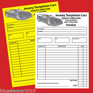 6X PERSONALISED A5 NCR Invoice/receipt book, pad (Duplicate)