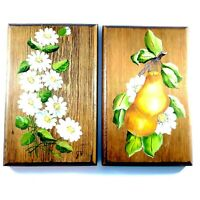 """Vintage Hand Tole Painted Wood Plaques Pears and Daisy Flowers Set of 2 5.5x8.5"""""""
