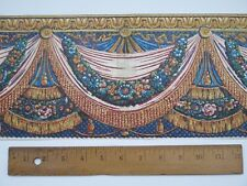 """Antique French Domino Paper Hand Blocked Swags, Tassels & Florals c1760~18""""LX6.5"""