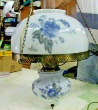 New listing '89 Hanging Swag Lamp Porcelain Floral ARTIST SIGNED Steinkuhler Blue Floral