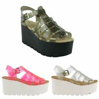 LADIES WOMENS CHUNKY SOLE PLATFORM JELLY SANDALS WEDGES PLATFORM SHOES SIZE