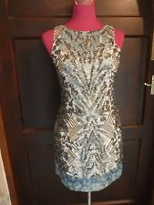 Stunning  All Saints Viper Sequin Dress Aqua Size 8 BNWOT