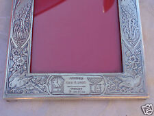 VINTAGE SGD STERLING STORK REPOUSSE BABY BIRTH ARRIVAL ANNOUNCEMENT PHOTO FRAME