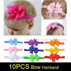10PCS Cute Newborn Baby Girl Headband Infant Toddler Bow Hair Band Girls Accesso