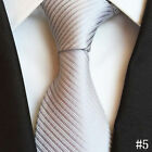 Men's New Solid Color Striped Classic Silk Tie Jacquard Woven Party Work Necktie