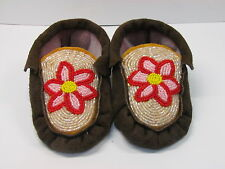 NATIVE AMERICAN FULL BEADED CHILDRENS MOCCASINS 6 INCHES SPARKLING FLOWER DESIGN