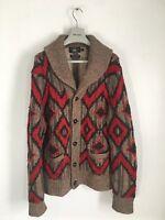 RRL Handknit Linen Silk Wool Shawl Collar Cardigan Southwest Visvim Indian XL