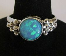 Native American Navajo Sterling Silver Lab Opal Ring Size 9