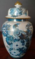 "Japanese Old ""ÏMARI"" Ginger Jar w/Lid Hand Decorated Peacock Cobalt Blue-Gold"