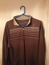 Men's NIKE GOLF FIT DRY Long Sleeve Shirt Sz L Large Brown White Striped