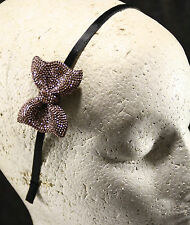 Sparkly thin bow skinny womens headband rose gold bow black satin hairband