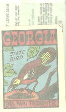 vintageTravel auto Water Decal GEORGIA brown thrasher bird automobilia