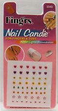 Lot of 10 Fing'rs Nail Candie For Fingers & Toes- Neon Lights Rhinestones - 2342